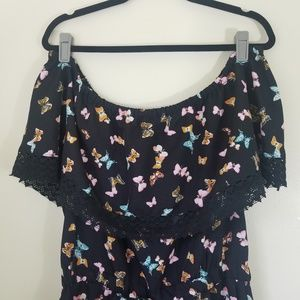 NWT Style House Off Shoulder Butterfly Romper - XL